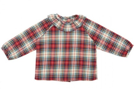 camisa volante escoces burdeos